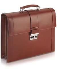 Pineider - Power Elegance - Brown Double Gusset Leather Briefcase - Lyst