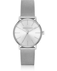 Armani Exchange - Lola Stainless Steel Mesh Women's Watch - Lyst