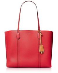 Tory Burch Perry Shopping Bag in Pelle Grainy con Charm - Rosso
