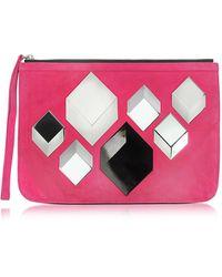 Pierre Hardy Cube Täschchen aus Wildleder in pink