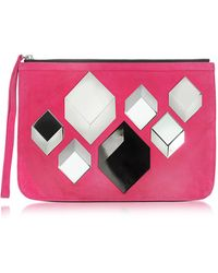 Pierre Hardy - Cube Pink Suede Pouch - Lyst