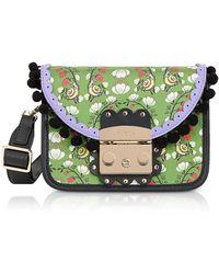 Furla Toni Smeraldo Strawberry Printed Satin Metropolis Serenissima Mini Crossbody Bag - Green