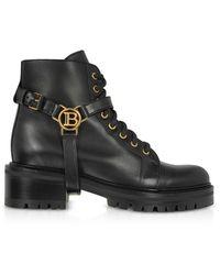 Balmain Black Leather Ranger Boots W/medallion