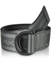 Ermenegildo Zegna Signature Stripe Canvas Men's Belt - Black