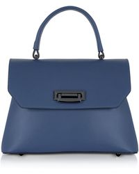 Le Parmentier - Lutece Small Blue Leather Top Handle Satchel Bag - Lyst