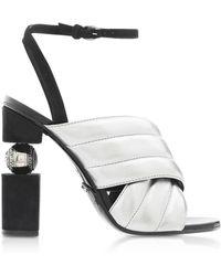 Balmain Jana High Heel Sandale aus gestepptem Leder in silber - Mettallic