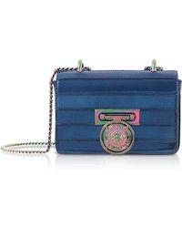 Balmain Cobalt Blue Mirrored Leather Baby Box Shoulder Bag