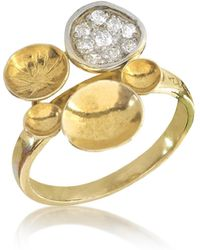 Orlando Orlandini | 18k Yellow Gold Ring W/diamond | Lyst