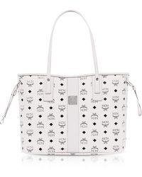 MCM - Shopper Project Visetos White Medium Reversible Tote Bag - Lyst