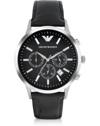 Emporio Armani - Stainless Steel Chronograph Watch W/embossed Leather Strap - Lyst