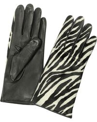 FORZIERI Women's Zebra Pony Hair And Italian Nappa Leather Gloves - Black