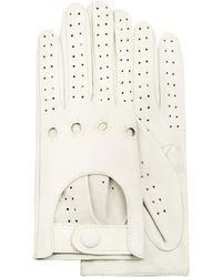 FORZIERI Women's Perforated Italian Leather Driving Gloves - White