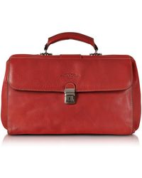 Robe Di Firenze Doctor Bag Media in Pelle Rossa - Rosso