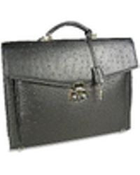Fontanelli - Black Ostrich Stamped Calf Leather Briefcase - Lyst