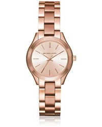 Michael Kors - Mini Slim Runway Rose Gold Tone Women's Watch - Lyst