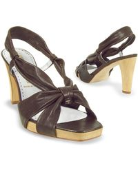 Alberto Gozzi - Dark Brown Leather Straps Platform Sandal Shoes - Lyst