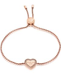 Michael Kors - Heritage Pvd Rose Goldtone Stainless Heart Bracelet W/crystals - Lyst