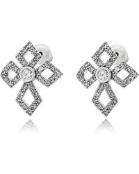 FEDERICA TOSI - Sterling Silver Lobo Cross Earrings W/crystals - Lyst