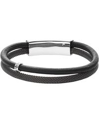 Fossil - Men's Vintage Casual Gray Leather Double Bracelet - Lyst