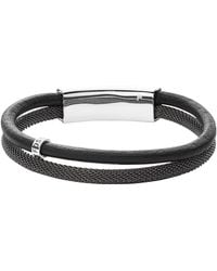 Fossil - Vintage Casual Grey Leather Double Bracelet - Lyst
