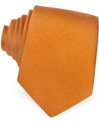 FORZIERI Solid Silk Narrow Tie - Orange