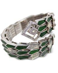 Bernard Delettrez White Gold Spiral Triple Snake Bracelet w/ Diamonds & Green Enamel - Metálico