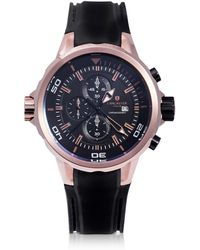 Lancaster Space Shuttle Rose Gold PVD Stainless Steel Chronograph Watch - Schwarz