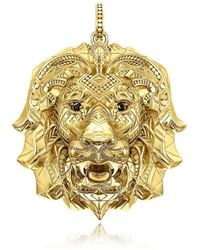 Thomas Sabo 925 Sterling Silver & 18k Yellow Gold Lion Pendant W/black Zirconia - Metallic