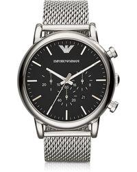 Emporio Armani Klassische Armbanduhr aus Edelstahl mit Chronograph in schwarz