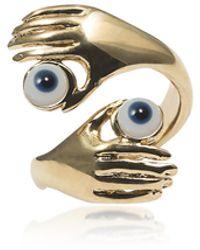 Bernard Delettrez - Contrarié Bronze Ring W/ Hands And Blue Eyes - Lyst