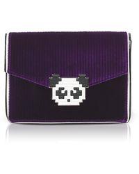 Les Petits Joueurs - Lulu Panda Purple Velvet Clutch - Lyst