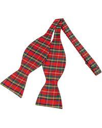 FORZIERI - Pajarita Seda Estampado Escocés Rojo y Verde - Lyst