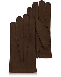 FORZIERI - Men's Cashmere Lined Dark Brown Italian Calf Leather Gloves - Lyst