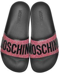 Moschino Fuchsia Glitter and Black Patent Pool Sandals - Multicolor