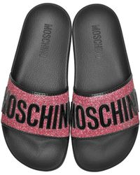 Moschino - Fuchsia Glitter And Black Patent Pool Sandals - Lyst