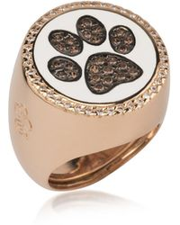 Azhar - Rose Sterling Silver Ring W/white Enamel And Cubic Zirconia - Lyst