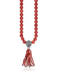 Thomas Sabo Red Sterling Silver and Coral Beads Long Necklace w/Tassel - Rojo