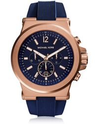 Michael Kors - Dylan Rose Gold Tone Stainless Steel Case And Blue Silicone Strap Men's Crono Watch - Lyst