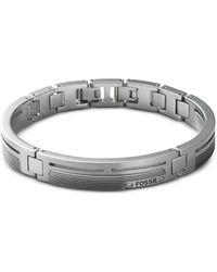 Fossil - Men's Striped Dress Link Bracelet - Lyst