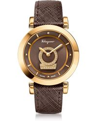 Ferragamo Minuetto Gold Ip Stainless Steel Case And Brown Saffiano Leather Strap Women's Watch W/diamonds - Metallic