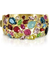 FORZIERI Gold Plated Metal Bangle w/Crystals - Mettallic