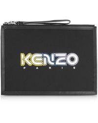 KENZO Kombo Clutch Large in Neoprene e Pelle con Logo - Nero