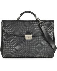 FORZIERI - Black Woven Leather Briefcase - Lyst