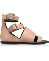 Balmain - Powder Pink Leather Clothilde Flat Sandals - Lyst