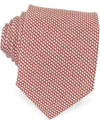 FORZIERI Bicolor Woven Silk Tie - Rot