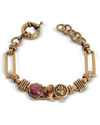 Alcozer & J Sacred Heart Golden Brass Bracelet W/gemstone - Metallic