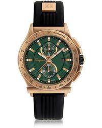 Ferragamo - Ferragamo 1898 Sport Bronze Ip Stainless Steel Men's Chronograph Watch W/black Rubber Strap - Lyst