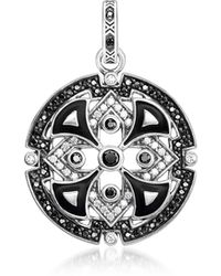 Thomas Sabo Blackened Sterling Silver w/Black & White Cubic Zirconia Pendant - Mettallic