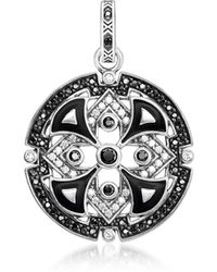 Thomas Sabo - Blackened Sterling Silver W/black & White Cubic Zirconia Pendant - Lyst