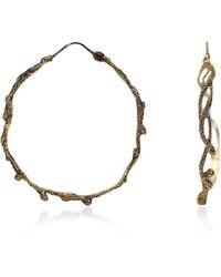 Bernard Delettrez Bronze Hoop Earrings W/ Snakes - Metallic